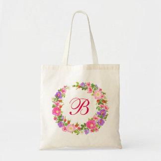 Retro rustic vintage Floral wreath tote bag