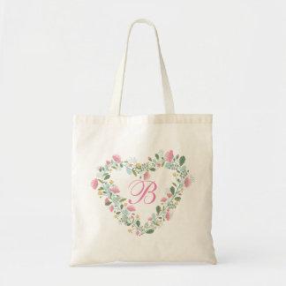 Retro rustic vintage LOVE Floral wreath tote bag