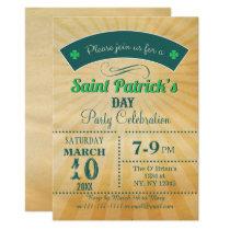 Retro Rustic Vintage St Patricks day Party Card