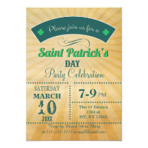 Retro Rustic Vintage St Patrick's day Party Invite