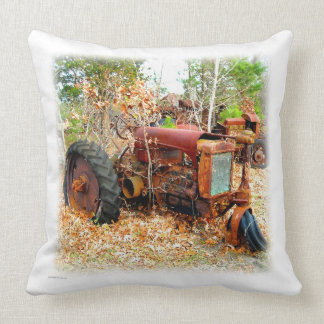 Retro Rusting Rustic Junk Yard Old Farm Tractor Throw Pillow