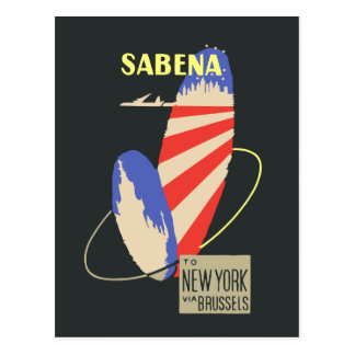 Retro Sabena Airlines to New York via Brussels Postcard