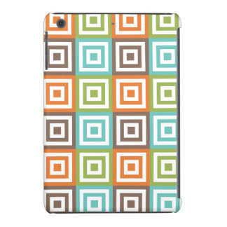 Retro Sage Green Orange Teal and Brown Squares iPad Mini Covers