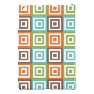Retro Sage Green Orange Teal and Brown Squares iPad Mini Cover