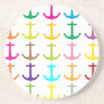 Retro sailors nautical anchor pattern drink coaster