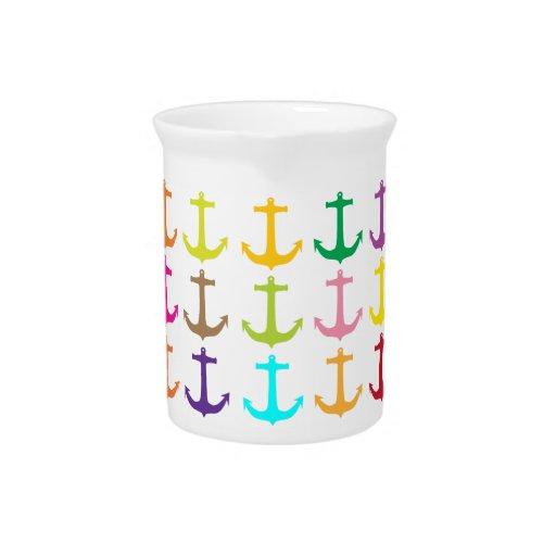 Retro sailors nautical anchor pattern beverage pitchers