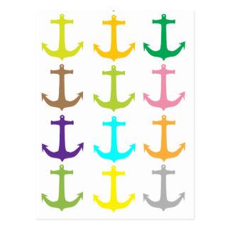 Retro sailors nautical anchor pattern postcard
