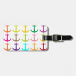 Retro sailors nautical anchor pattern tag for luggage