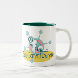Retro Saint Bernard Lounge Two-Tone Coffee Mug