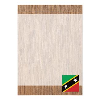 "Retro Saint Kitts and Nevis Flag 5"" X 7"" Invitation Card"