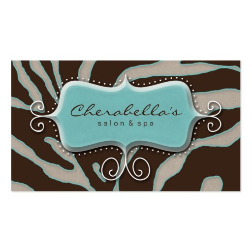 Retro Salon Spa Business Card Zebra Blue Brown
