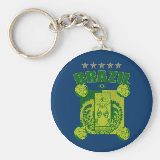 Retro Samba futebol faded artwork gifts Basic Round Button Keychain