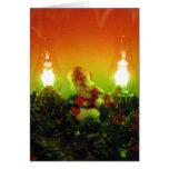Retro Santa and Bubble Lights Greeting Cards