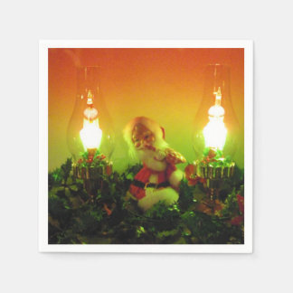 Retro Santa and Bubble Lights Napkin