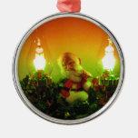 Retro Santa and Bubble Lights Christmas Tree Ornaments