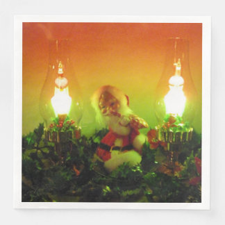 Retro Santa and Bubble Lights Paper Dinner Napkin
