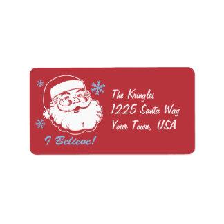 Retro Santa Believe Adress Label