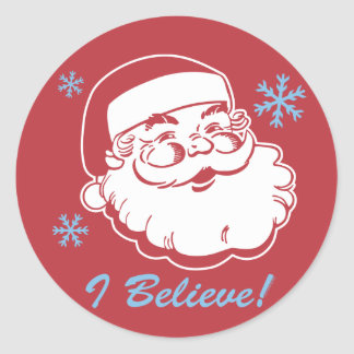 Retro Santa Believe Classic Round Sticker