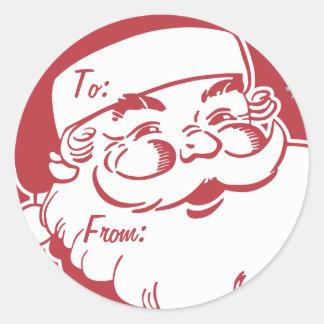 Retro Santa Believe Gift Tag Classic Round Sticker