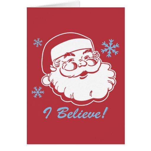Retro Santa Believe Greeting Card