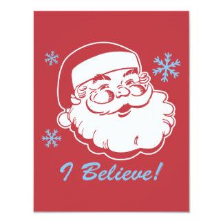 Retro Santa Believe 4.25x5.5 Paper Invitation Card