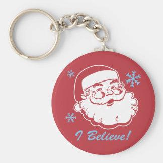 Retro Santa Believe Keychain