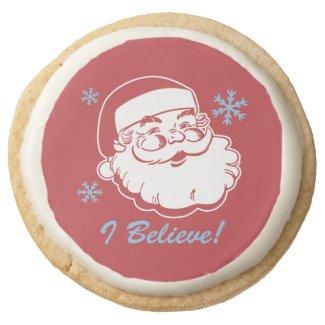 Retro Santa Believe Round Premium Shortbread Cookie