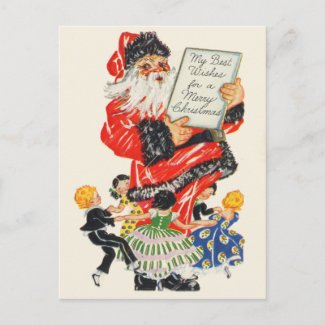 Retro Santa Christmas Postcards postcard