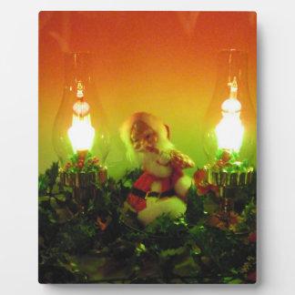 Retro Santa Claus and Bubble Lights Plaque