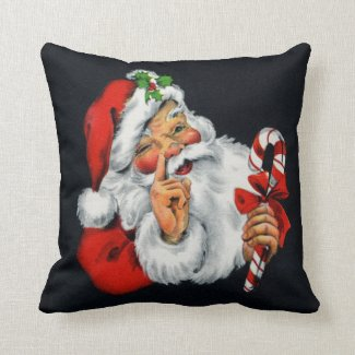 Retro Santa Claus Christmas Square Throw Pillow