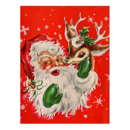 Retro Santa Claus  Reindeer Christmas Postcard