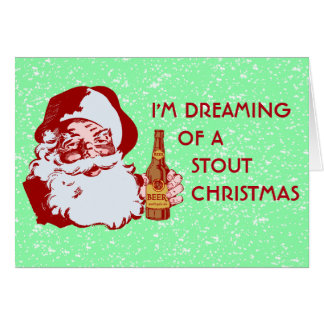 Retro Santa Claus Stout Beer Christmas Greeting Card