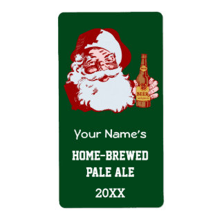 Retro Santa Claus with a Beer Christmas Bottle Label