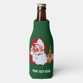 Retro Santa Claus with Beer Christmas Funny Custom Bottle Cooler