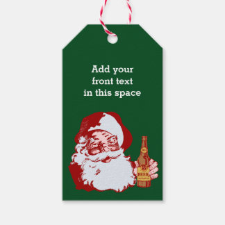 Retro Santa Claus with Beer Christmas Funny Custom Gift Tags
