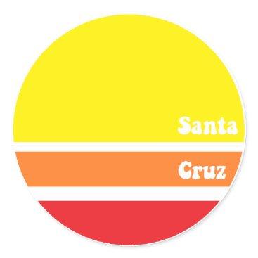 Beach Themed Retro Santa Cruz Sticker
