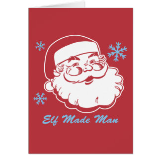 Retro Santa Elf Made Man Card