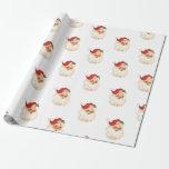 Retro Santa face Christmas wrapping paper