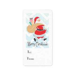 Retro Santa Holiday Gift Tag