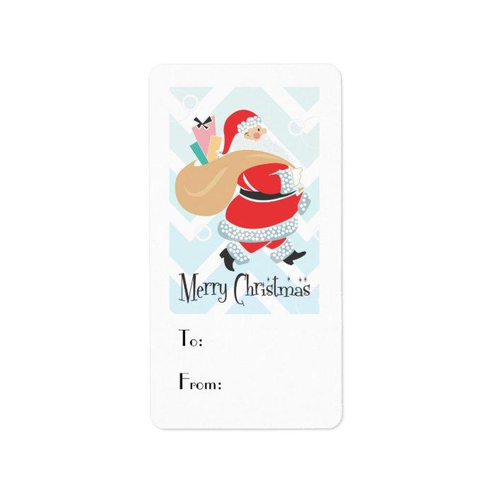 Retro Santa Holiday Gift Tag Label