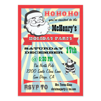 Retro Santa Holiday Party Invitations