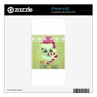 retro Santa kitty candy cane collection Skin For The iPhone 4S