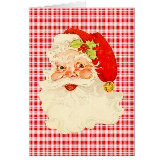 Retro Santa on Plaid Card