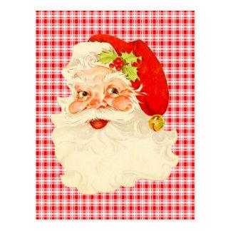 Retro Santa on Plaid Postcard
