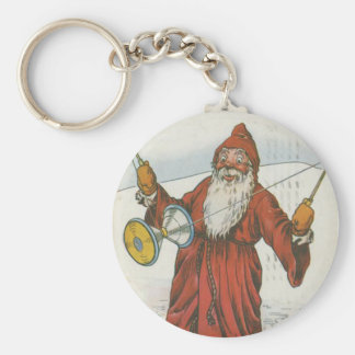 Retro Santa Playing With Toys Keychain