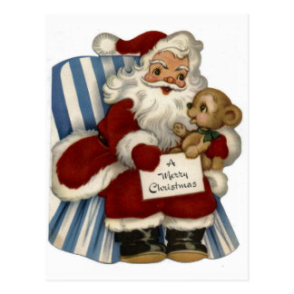 """""""Retro Santa with Teddy Bear"""" Christmas Postcard"""
