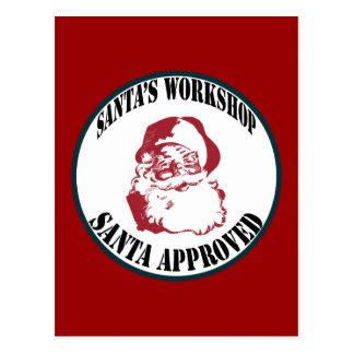 Retro Santa's Workshop Santa Approved Postcard