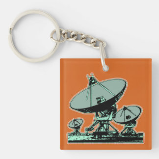 Retro Satellite Dish Graphic Keychain