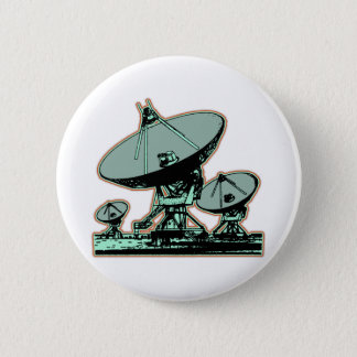 Retro Satellite Dish Graphic Pinback Button