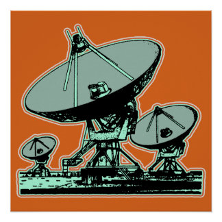 Retro Satellite Dish Graphic Poster